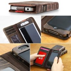 iPhone 4 /4S / 5 Vintage Book Style Leather Case