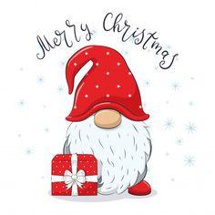 Watercolor Christmas Cards, Christmas Drawing, Christmas Paintings, Christmas Greeting Cards, Christmas Greetings, Christmas Gnome, Christmas Art, Christmas Presents, Vector Christmas