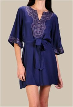 Navy Blue Dress with Embroidered Collar - $39