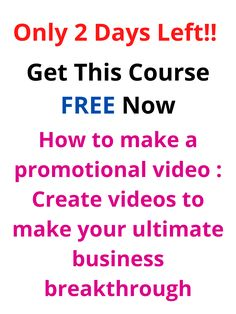 Only 2 Days Left || Get This Course FREE Now || How to make a promotional video : Create videos to make your ultimate business breakthrough || Use coupon Code=7F3694DA7AAD04E5A255 Business Marketing, Email Marketing, Content Marketing, Affiliate Marketing, Internet Marketing, Online Business, Digital Marketing, Make Money Online, How To Make Money