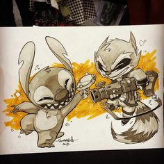 Stitch VS Rocket Raccoon! Another great sketch request from OzCC in Adelaide. Who do you think would win this battle? I can't choose! #disney #stitch #chibi