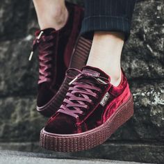 A closer look at the Rihanna x Puma Creeper Velvet Pack is featured. Find all three pairs at Puma retailers on December Creeper Sneakers, Puma Sneakers, Platform Sneakers, Zapatillas Puma Rihanna, Pumas Rihanna, Rihanna Fenty, Puma Creepers Velvet, Rihanna Outfits, Shoes
