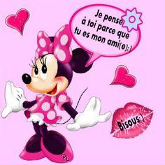 Je pense à toi image #5763 - Je pense à toi parce que tu es mon ami(e) :) Bisous :) - Bisou, Coeurs, Minnie. Partager cette photo sur Facebook, Twitter et WhatsApp. Beau Message, Jaba, Happy Day, Disney Characters, Fictional Characters, Minnie Mouse, Messages, Feelings, Illustrations