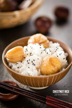 Chestnut Rice (Kurigohan) ~ via JustOneCookbook.com/recipes/chestnut-rice-kurigohan/