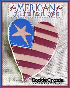 Americana Stitched Heart Cookie (Tutorial)   http://www.cookiecrazie.com/2012/06/americana-stitched-heart-cookie.html#