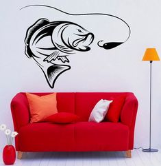 Fishing Wall Decal Fish Vinyl Stickers Fish Hook by Rossstickers