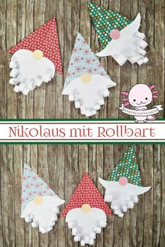 Nikolaus basteln mit Kindern und Kleinkindern Funny Santas tinker with Rollbart. A craft idea for children. Make Christmas decorations Christmas Crafts For Kids, Christmas Decorations To Make, Christmas Art, Xmas, Christmas Ornaments, Diy And Crafts, Paper Crafts, Stick Crafts, Simple Crafts