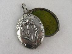 Stunning Antique French Art Nouveau 'Carnation' Silver Slide Locket, from blackwicks on Ruby Lane