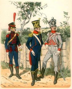 Westphalia-artillery and 1812 from left to right: kanonier artillery horse guards, artillery officer, an officer on foot. Fig. R. Knötel.
