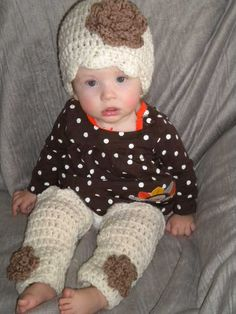 Crochet Baby Hat and Matching Leg Warmers in by OohSoChicBoutique, $28.00
