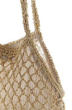 """$59 JJill straw fisherman's bag - Lt wt straw paper material crocheted in an open-stitch design. Striped fabric lining, magnetic snap close. Interior pocket. Spot clean. 19""""X14. 20"""" handles w 10""""drop. *Not sure lining these HELPS since using as grocery bags (if for purse/beach bag I get it) the liner wouldn't allow it to does best - expand as lg as possible to fit whatever you want even though they are so small can be stuffed into a ball in your front pocket! INTERESTING STRAW PAPER MATERIAL"""