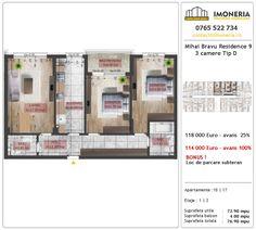 Apartamente de vanzare Mihai Bravu Residence 9 -3 camere tip D Utila, Floor Plans, Floor Plan Drawing, House Floor Plans