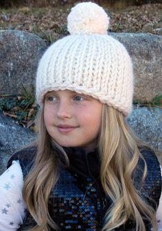 652044107d8ef Tunisian Crochet Pom-Pom Hat Pattern - Chunky Pom-Pom Hat Crochet Pattern-  Instant Download