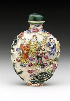 Snuff Bottle (Biyanhu) with Immortals, China, Late Qing dynasty, about 1800-1911, Molded soft-paste porcelain with overglaze enamel decoration, with hardstone stopper