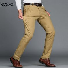 ICPANS Brand Mens Pants Classics Smart Casual Business Stretch trousers regular Straight Pant Black Blue Khaki Plus Size 44 46