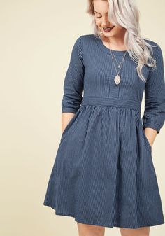 Team-Building Breakfast Dress by Mata Traders - Blue, Stripes, Print, Casual, A-line, 3/4 Sleeve, Fall, Woven, Best, Cotton, Mid-length, Work