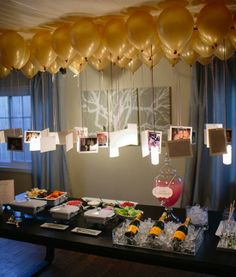 For a birthday, hang photos of the birthday boy/girl from balloons from…