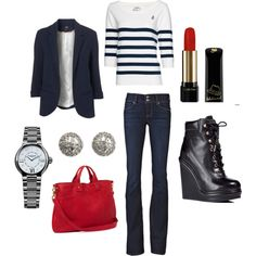Just a bit nautical - Simple, chic, created by nessapolyvore.polyvore.com