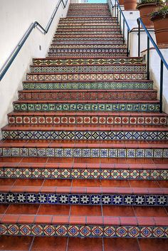 ideas spanish tile stairs santa barbara in 2020 Spanish Style Homes, Spanish Revival, Spanish House, Spanish Colonial, Tiled Staircase, Tile On Stairs, Stair Builder, Tile Steps, Building Stairs