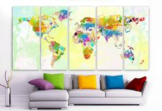 "XLARGE 30""x 70"" 5 Panels Art Canvas Print Original Watercolor World Map Texture Wall Home decor interior (Included framed 1.5"" depth)"