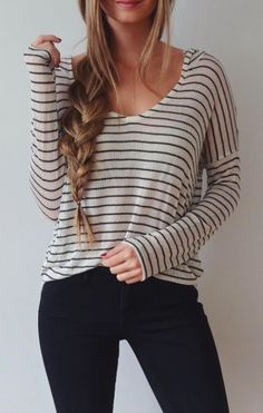 relaxed vibe. These stripes are ok if they are a small and not a huge contract in colors.  Black pants!!