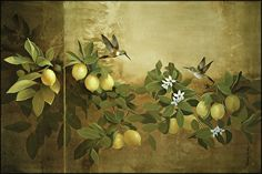 Lemons and Hummingbirds by Sherry Loehr Acrylic ~ 24 x 36