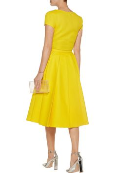 Poplin-trimmed piqué midi dress   Vionnet   75% off   US   THE OUTNET