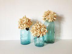 SET OF 3 Vintage AQUA glass Ball Jars by AnnmarieFamilyTree