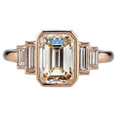 2.30 Carat GIA Cert Emerald Cut Diamond Gold Engagement Ring 1