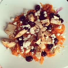 Errrrrmagawd.  dinner was done in less then 15 minutes and was legit a party in my mouth.  I spiraled up a sweet potato, topped it with roasted grapes, goat cheese,chicken, and honey.  We might be eating this again this week!  I use the @Paderno_usa spiraler.  To roast the grapes I put them on a baking sheet with some grapeseed oil and put them in a hot oven for 15 minutes. I cook the sweet potatoes in a sauté pan with coconut oil. Then I weigh everything separately before I eat it