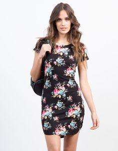 Ribbed Floral Dress