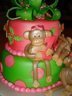 First birthday Monkey present cake www.myspace.com/misscharleee by Charley And The Cake Factory, via Flickr