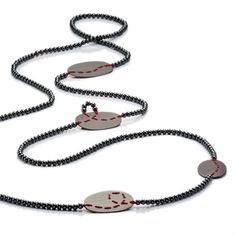 ORRO Contemporary Jewellery Glasgow - Brigitte Adolph - Silver & Hematite Red Loop Necklace - Knotted on silk - Sterling silver