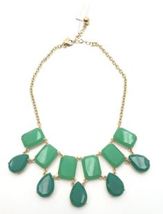 Kate Spade New York Green Emerald/Gold Bib Necklace MSRP $148 | eBay