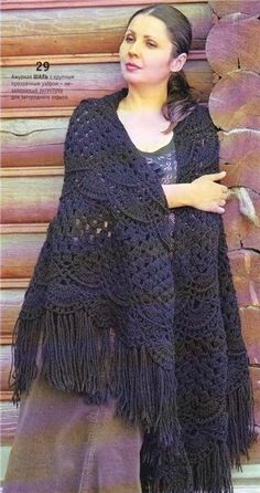 Lace shawl, crochet pattern.beautiful.