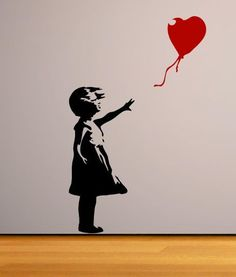 Banksy Childhood Girl With Red Balloon Vinyl Wall Sticker Wall Art Decal