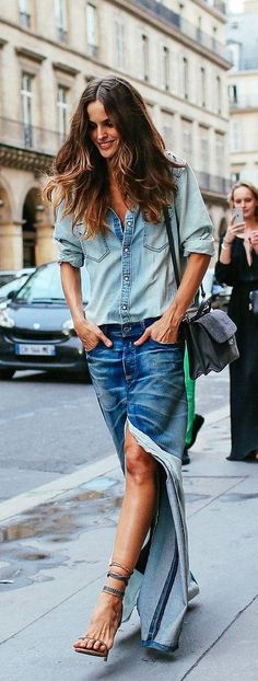 Izabel Goulart's denim on denim look for Couture fashion week