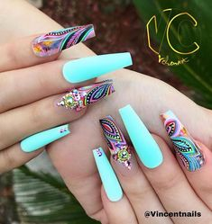 New nails almond turquoise nailart 15 ideas Dope Nails, Bling Nails, My Nails, Fall Nails, Matte Nails, Best Acrylic Nails, Acrylic Nail Designs, Nail Art Designs, Nails Design