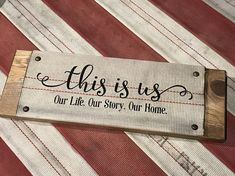 Wall Sign Decor Handmade From Retired Repurposed FireFighter Fire Hose. Titled This Is Us Fire Hose Projects, Fire Hose Crafts, Firefighter Crafts, Firefighter Family, Firefighters Wife, Volunteer Firefighter, Firefighter Wedding, Handmade Gifts For Him, Handmade Home Decor
