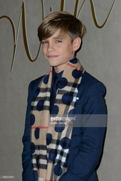 13-year-old Romeo Beckham arrives for the premiere of the Burberry festive film at Burberry on November 3, 2015 in London, England.