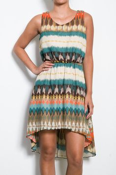 African Mosaic Dress in Brown