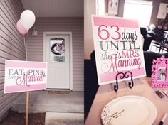 Signage for Eat, Pink, and be Married bridal shower by @Ryan Irwin Minshall