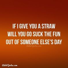 If I give you a straw will you suck the fun out of someone else's day. Sarcasm Quotes, Sign Quotes, Cute Quotes, Funny Quotes, Im Done Quotes, Work Quotes, Rebel Quotes, My Life Quotes, Lessons Learned In Life