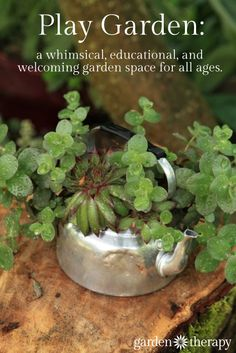 Tour a play garden - a whimsical space meant to invite in all ages to enjoy the garden to see the solar chandelier, the rustic table and chairs, or play hopscotch through the garden.