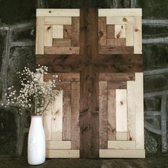 At 20 x 28, this Cross Wood Wall Art can rest on any mantle, hang on a wall, or lean against a surface on a shelf or piece of furniture. The photographed piece is stained with three stains: Cross- English Chestnut, Outer edge of Cross - Special Walnut, and edge- natural. Please specify when you check out if you would like to have a different stain. Couple things to note: - Pieces can take up to three or more weeks before shipping out due to capacity and current projects. I will email you if…