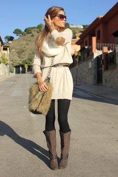 Sweater dress. Great bag! » 2011 » via Seams for a Desire