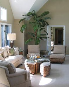 "Southampton Living Room    Neutral beiges and woodsy greens create a calming and relaxing atmosphere for this living room in Southampton. The use of natural light helps to add openness and makes the room warm and inviting.    For more information and all things ""Libby,"" go to www.libbylangdon.com."
