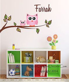 Mom and Baby Owl Branch Custom Name Printed Fabric Repositionable Wall Decal