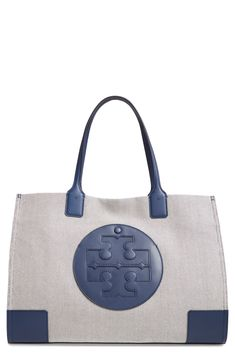Love this pretty white and navy Tory Burch tote! Tory Burch, Two Tones, Nordstrom, Canvas, Leather, Blue, Navy, Pretty, Products