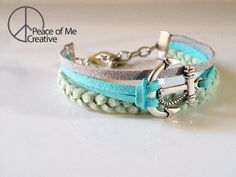 Layered Mint and Turquoise Anchor Bracelet